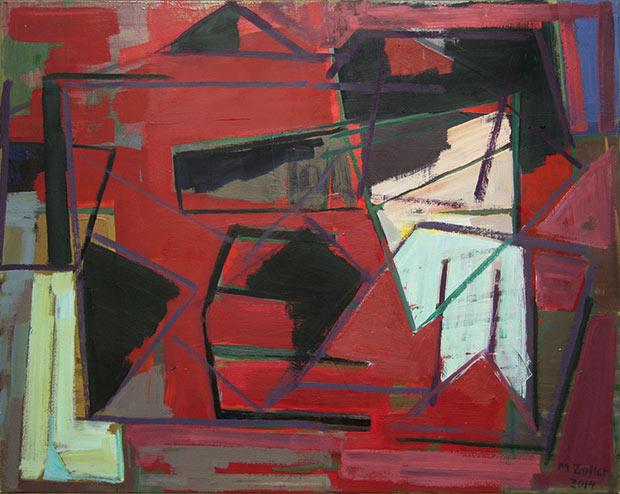 "MANFRED ZOLLER ""Roter Vorhang"" 2014 | Öl auf Leinwand | 80 x 100 cm"