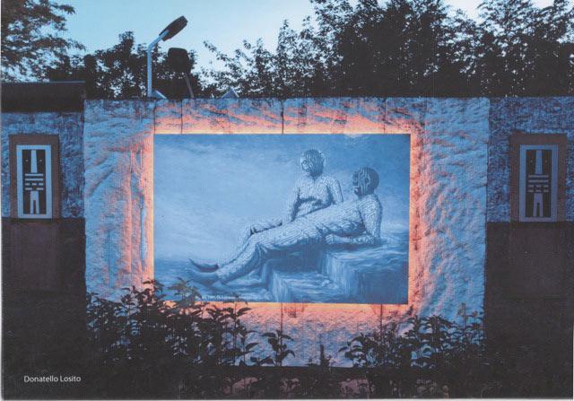 """Kopie des Bildes """"Wassertreppe 1987"""" auf kunststoffbeschichteter Platte."""