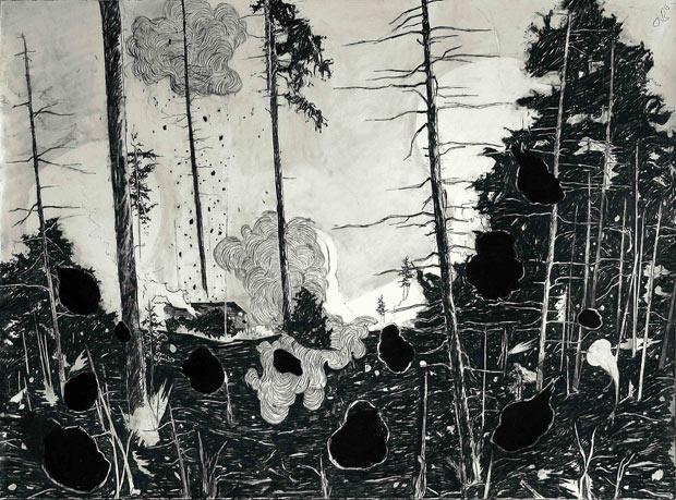 Laura Bruce »Burn« 2011 Graphit auf Papier 113 x 155 cm